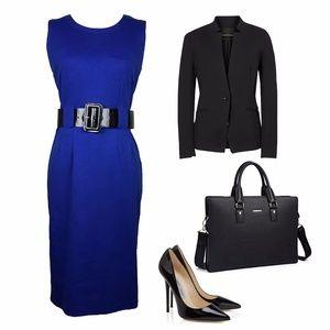 Calvin Klein Royal Blue Belted Dress